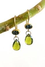 MALLARY MARKS Apple & Eve - Oval Moss Sapphire & Idocrase Briolette Earrings