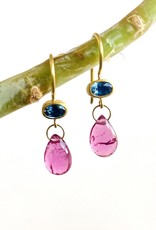 MALLARY MARKS Apple & Eve - Oval Blue Sapphire with Rubellite Briolette Earrings