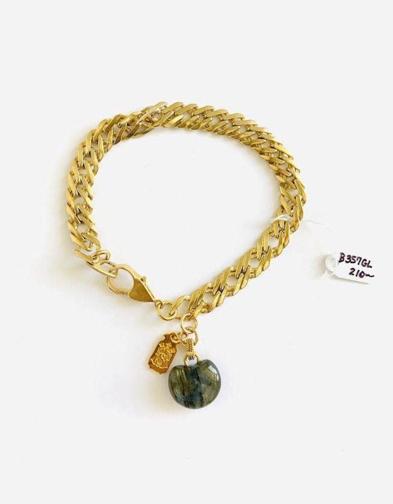 SENNOD Vintage Bracelet with Labradorite Heart