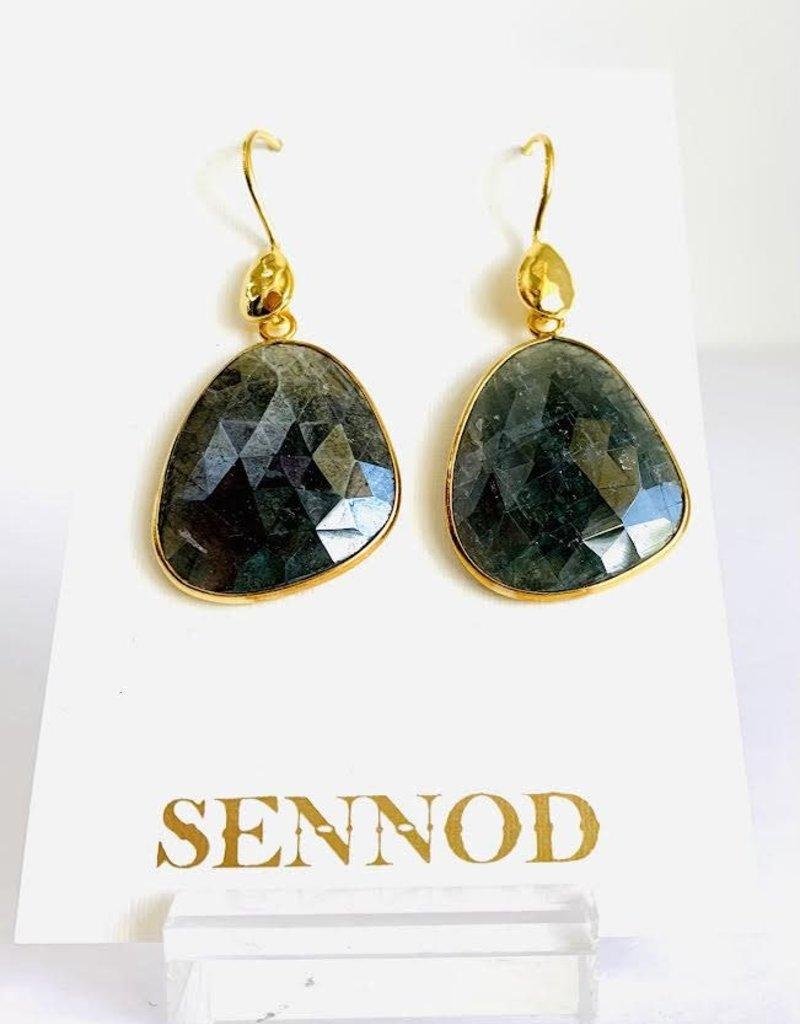 SENNOD Faceted Blue Sapphire Drop Earrings