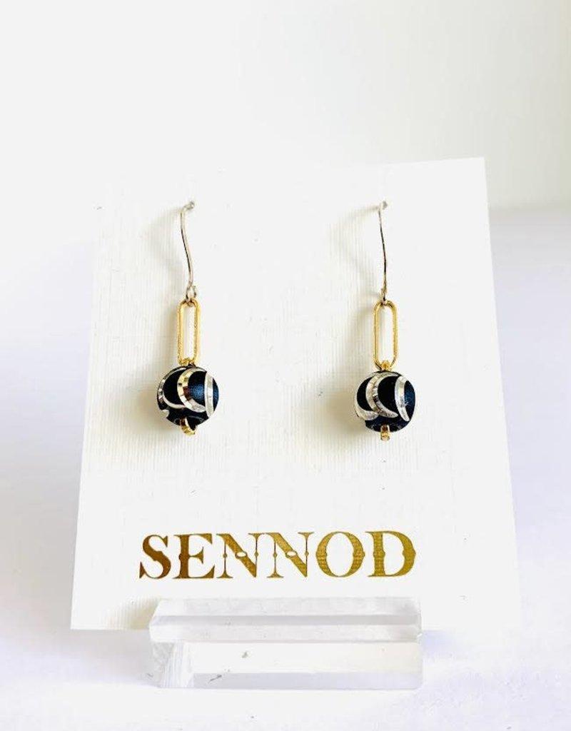 SENNOD Gunmetal Swirl Ball Earrings