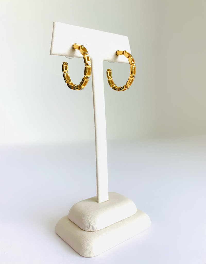 SENNOD Maxine Diamond Gold Hoop Earrings