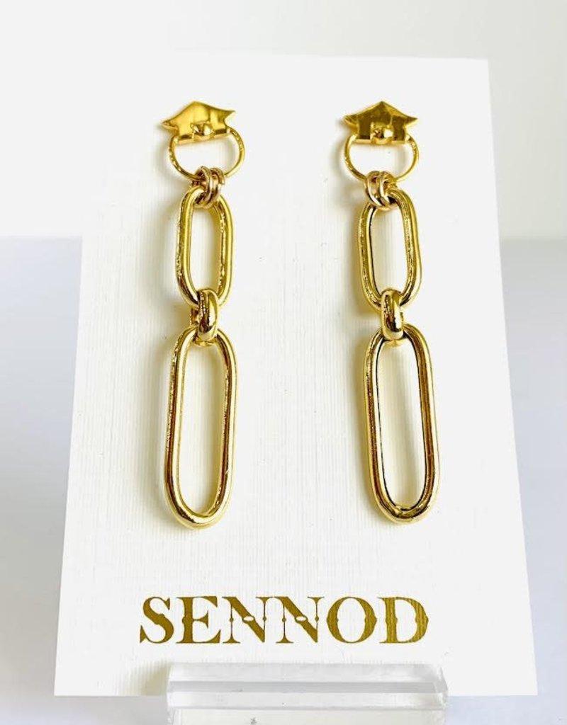 SENNOD Hollow Oval Link Earrings