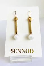 SENNOD Selenite Ball on Gold Bar Earrings