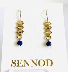 SENNOD Lapis Ball on Vintage Chain Earrings