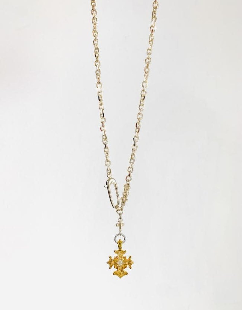 """SENNOD Two-tone Cross with Sterling Chain 20"""" Necklace"""