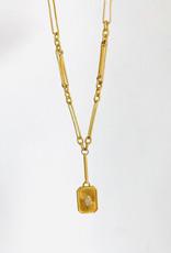 "SENNOD Valens Chain with Diamond Rectangle Medallion 19"" Necklace"