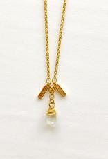 "SENNOD Moonstone & Diamond Bar Dangle 18"" Necklace"