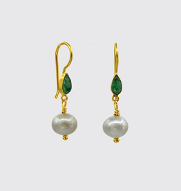 JANE DIAZ Small Grey Pearl And Emerald Marquis Drop Earrings
