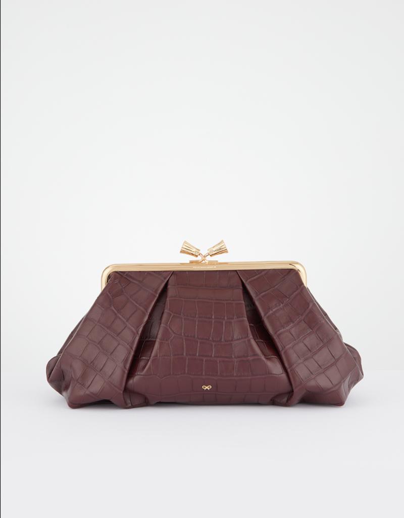ANYA HINDMARCH Maud Tassel Large Clutch - Claret
