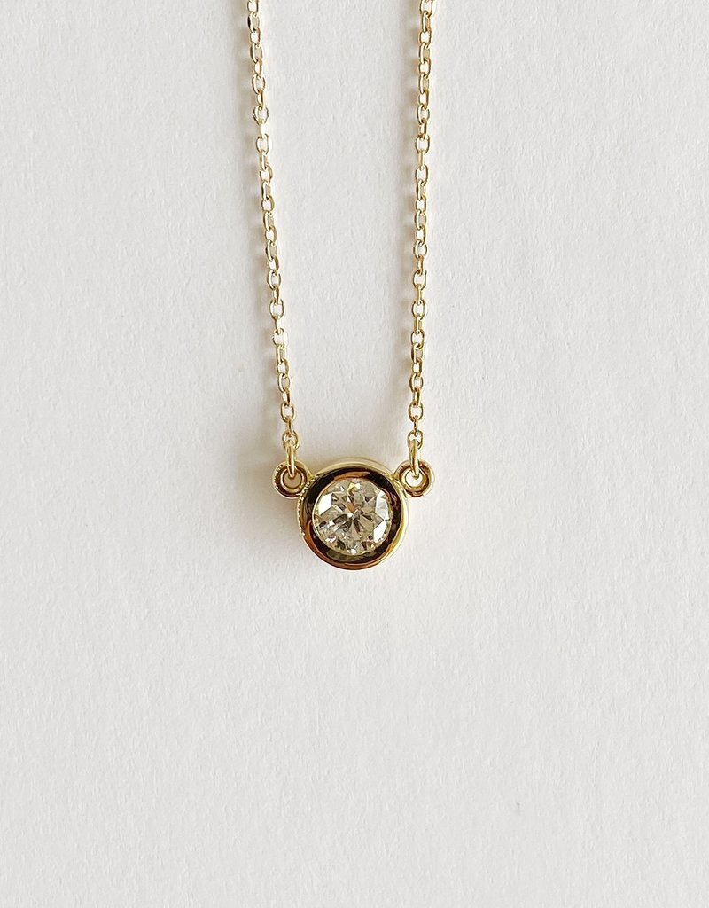 """302 COLLECTION 1/2CT Round Diamond Solitaire 18"""" Necklace"""