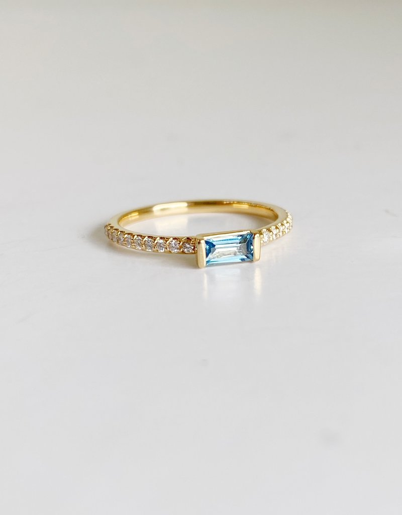 302 COLLECTION London Blue Topaz Baguette and Diamond Ring
