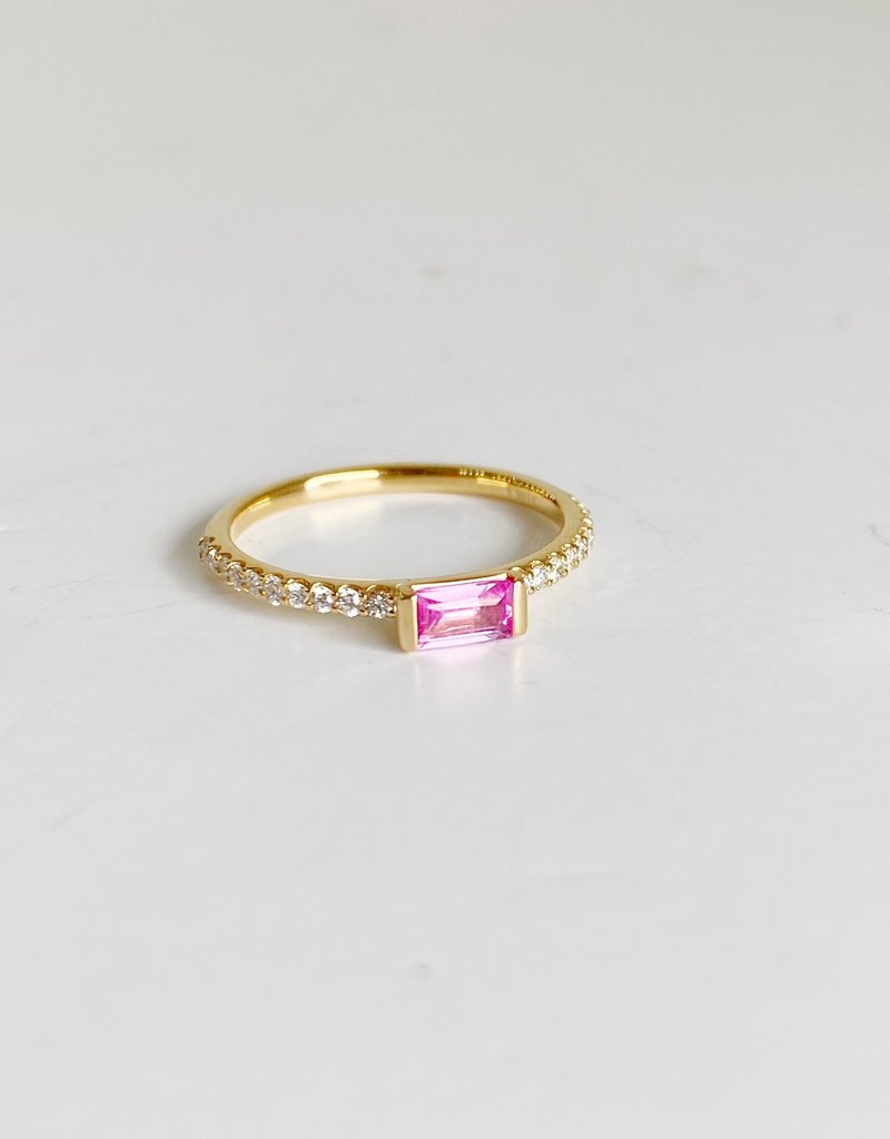 302 COLLECTION Pink Sapphire Baguette and Diamond Ring  - Size 7