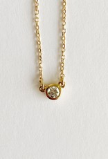 """302 COLLECTION 1/10CT Diamond Solitaire 18"""" Necklace"""