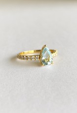 302 COLLECTION 2CT Pear Shaped Aquamarine and .03ct Diamond Ring