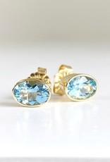 302 COLLECTION 14K Bezel Oval Aquamarine Stud Earrings