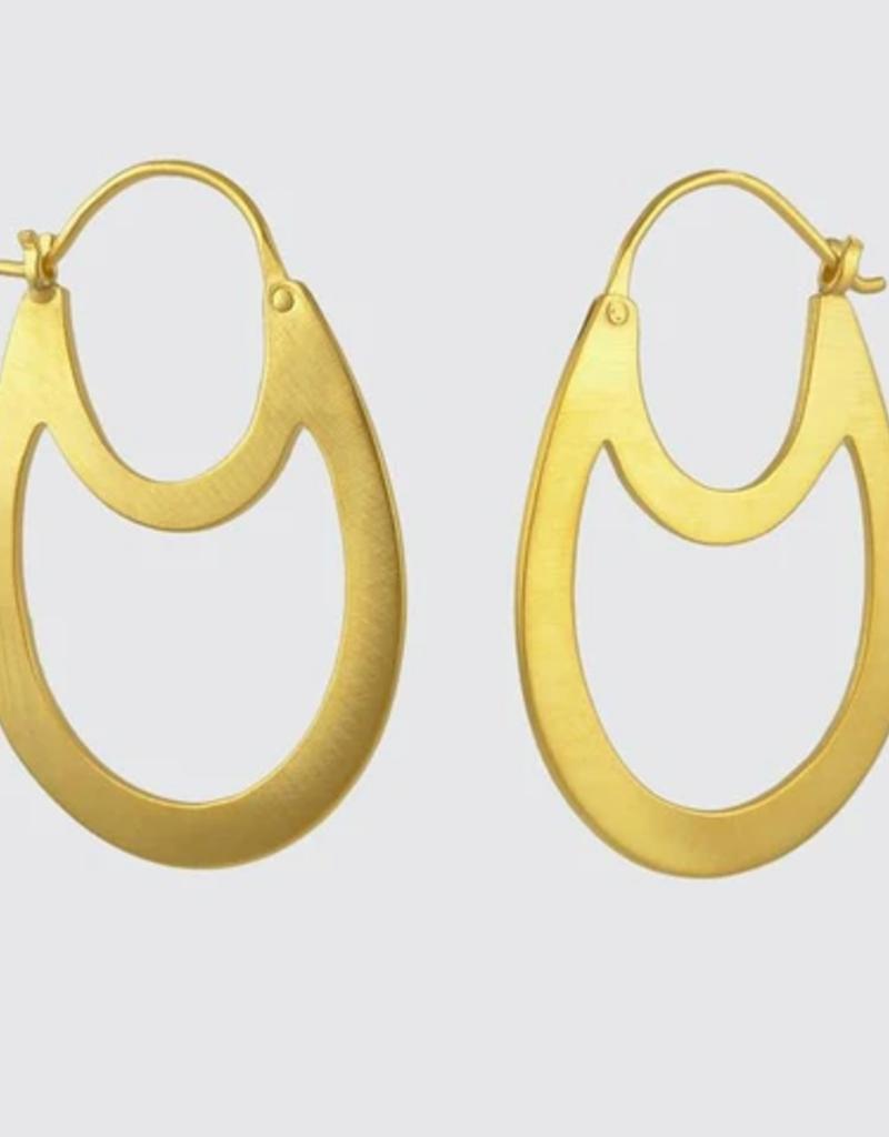 JANE DIAZ Double Flat Oval Hoop Earrings