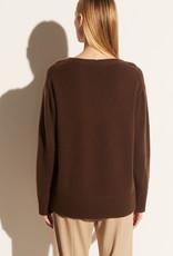 VINCE Cashmere Rib Trim V-Neck Tunic Sweater -