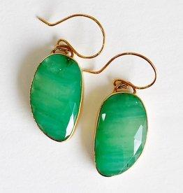 JAMIE JOSEPH Asymmetrical Rose Cut Emerald Earrings