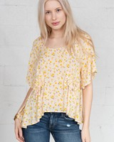 Cousin Earl Yellow Ditsy Floral Top