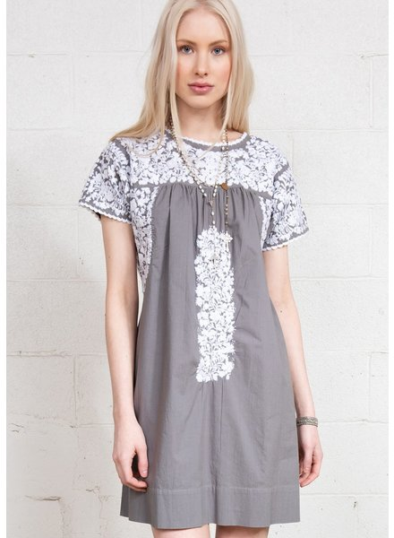 Sister Mary Embroidered Grey Dress