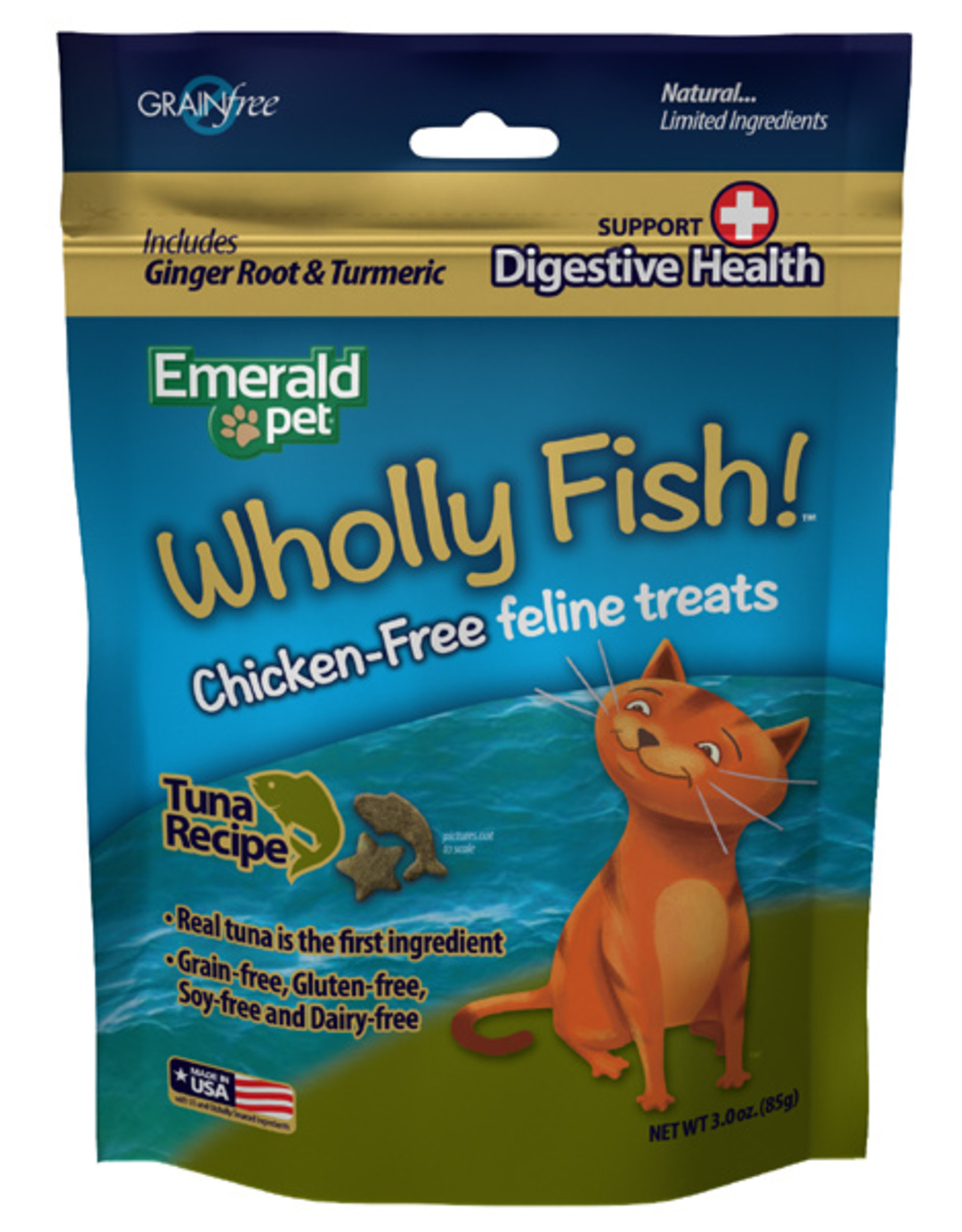 Emerald Pet Wholly Fish! Tuna plus Digestive Health Cat Treat 3 oz
