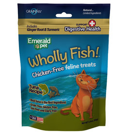 Emerald Pet Wholly Fish! Tuna plus Digestive Health Cat Treat 3 oz