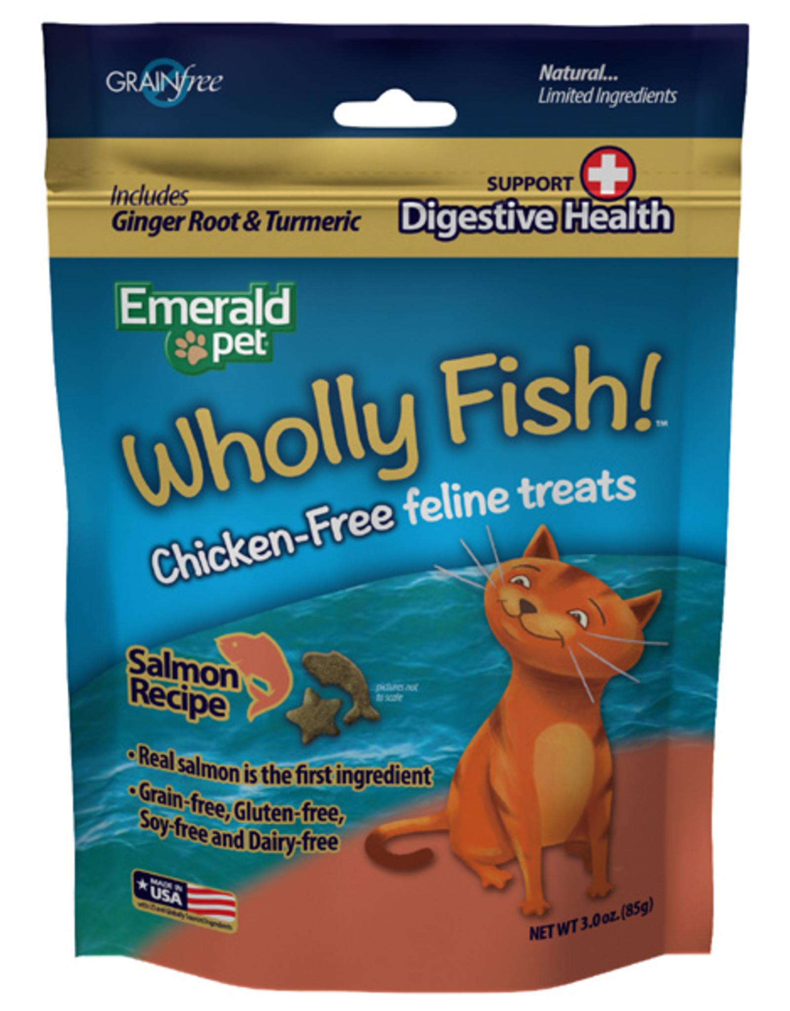 Emerald Pet Wholly Fish! Salmon plus Digestive Health Cat Treat 3 oz