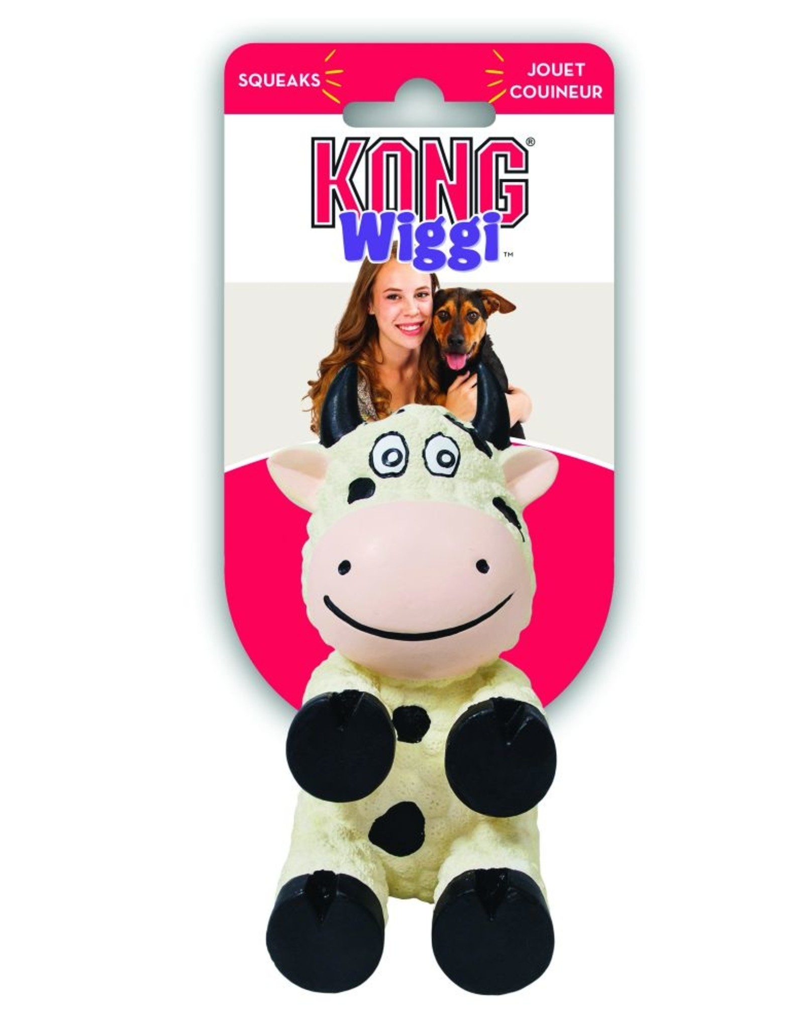 KONG® Wiggi™ Cow Dog Toy White Small