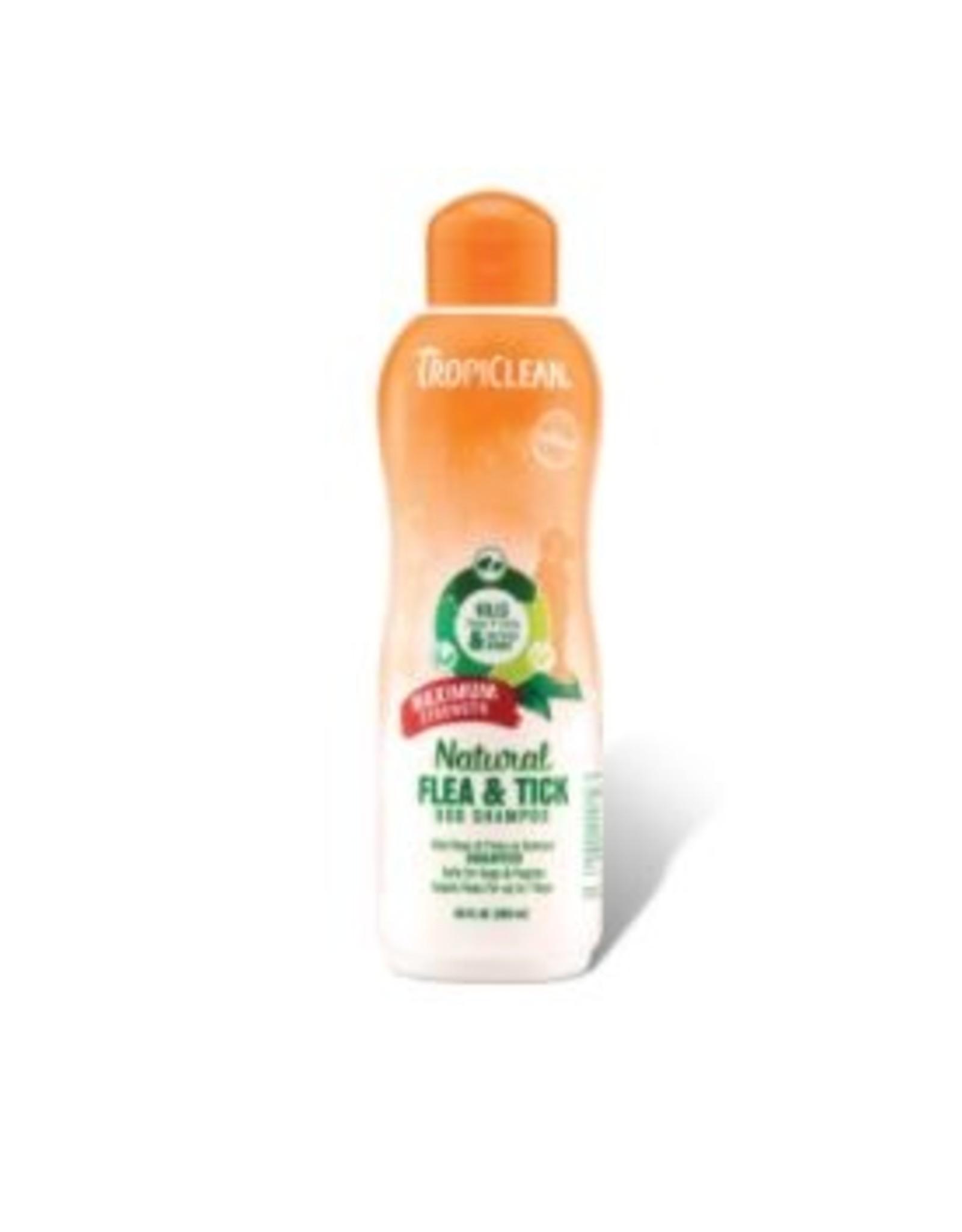 TropiClean Natural Flea Tick Maximum Strength Shampoo 20 oz.