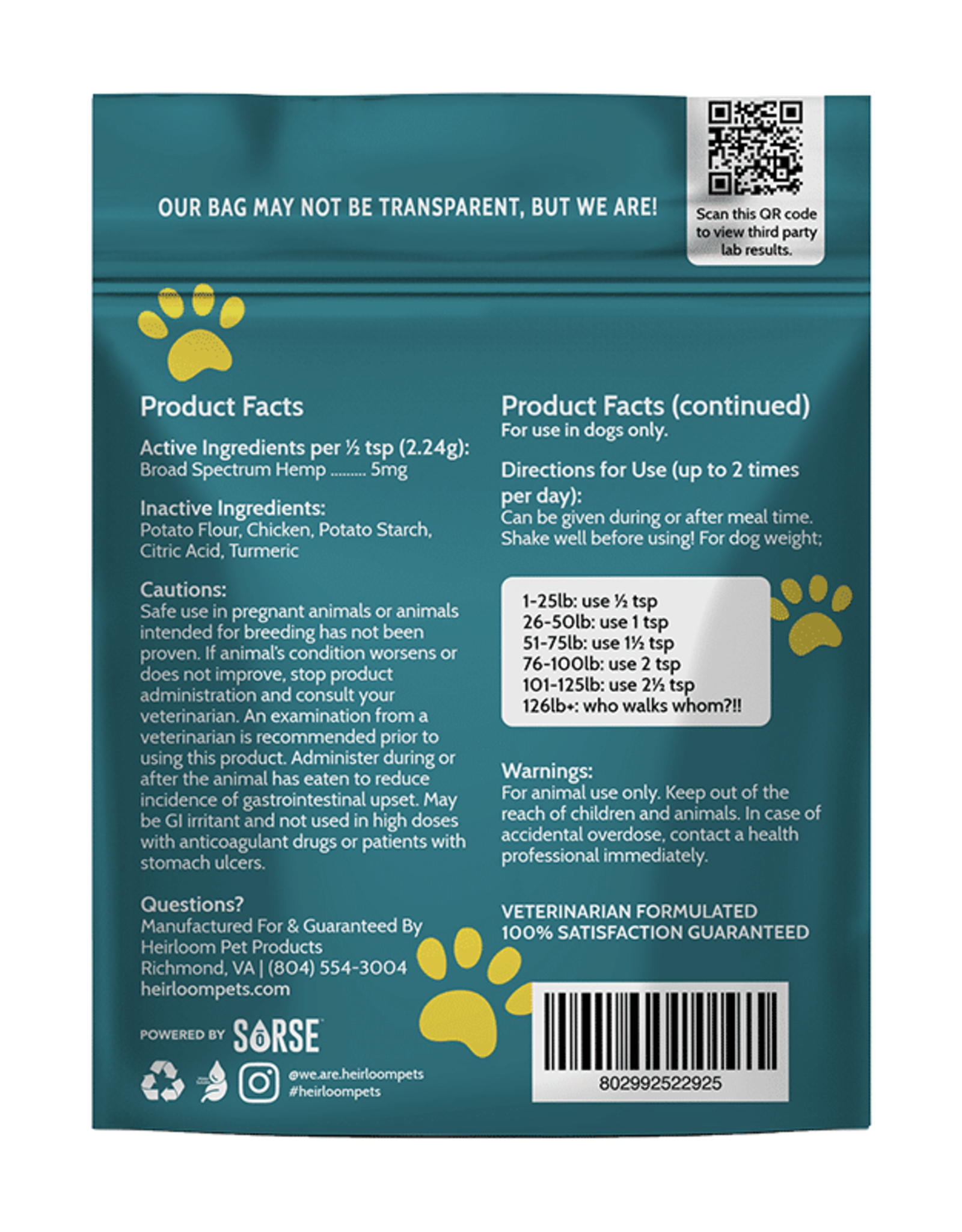 Heirloom Pet Products Chicken/Tumeric CBD 150mg Topper