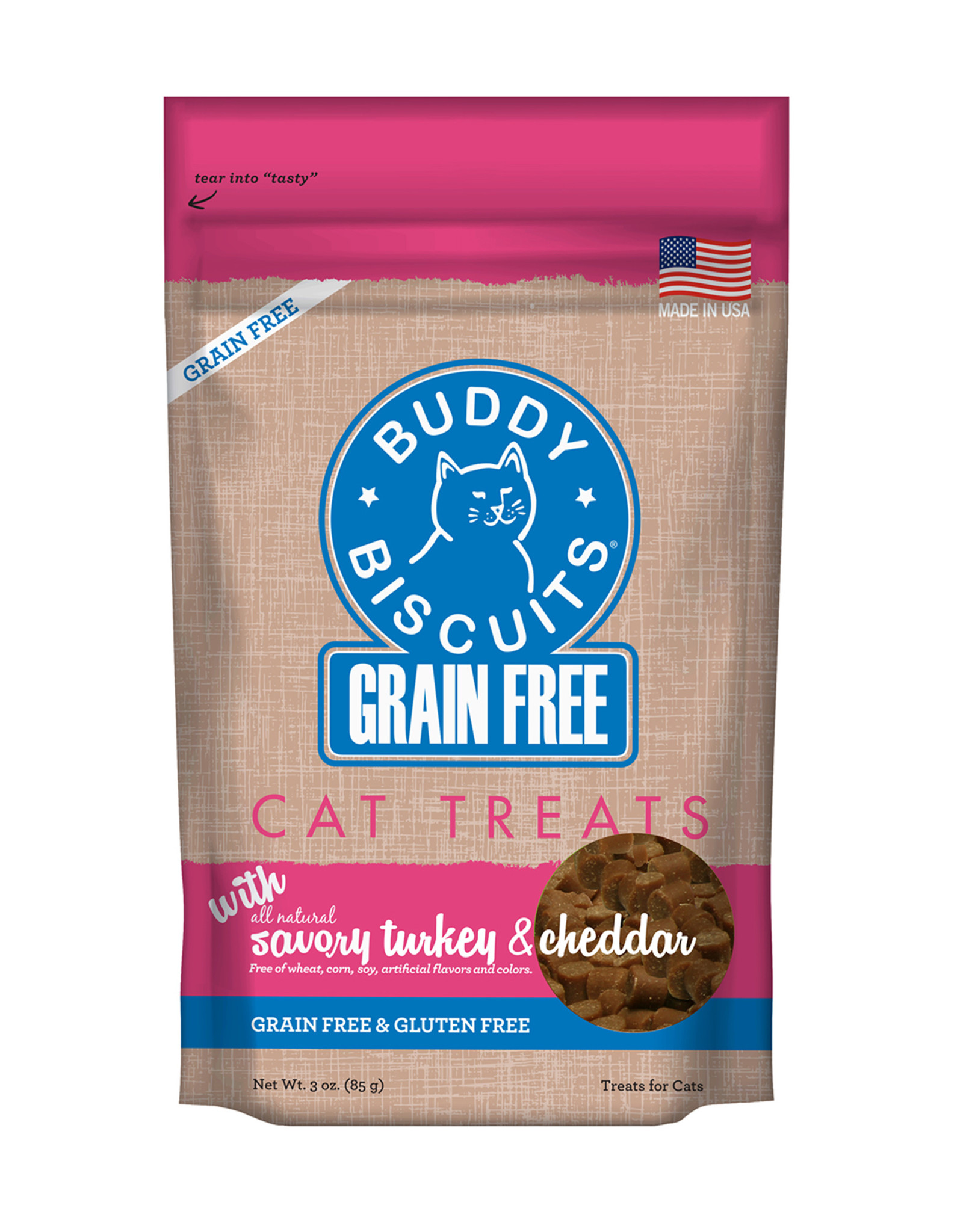Buddy Biscuit Grain Free Turk & Cheddar Cat Treat 3oz