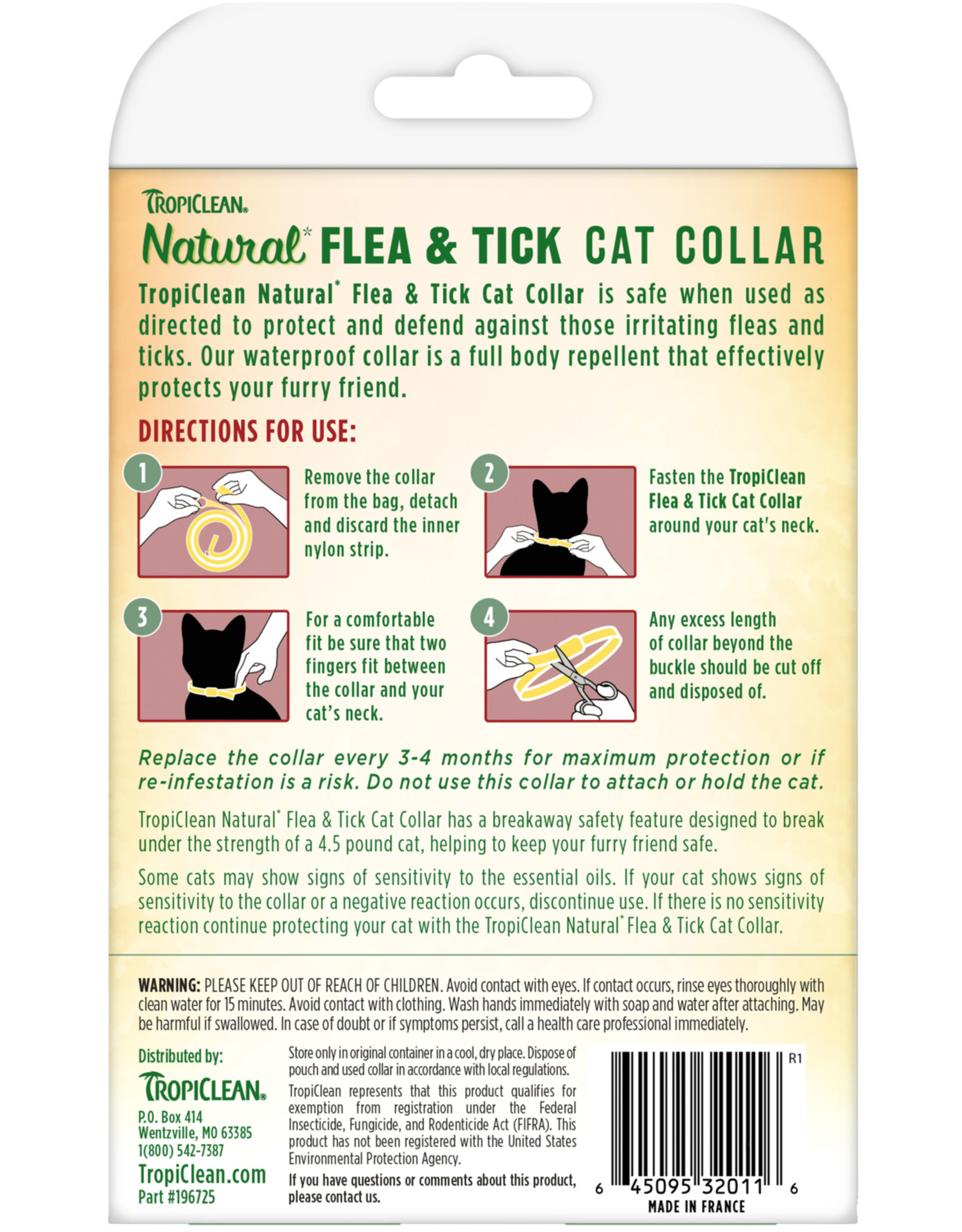 TropiClean Natural Flea & Tick Repellent Collar for Cats One Size