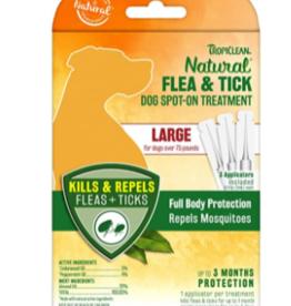 TropiClean Natural Flea & Tick Spot On Treatment for Dogs 0.68 fl oz, 4 ct LG