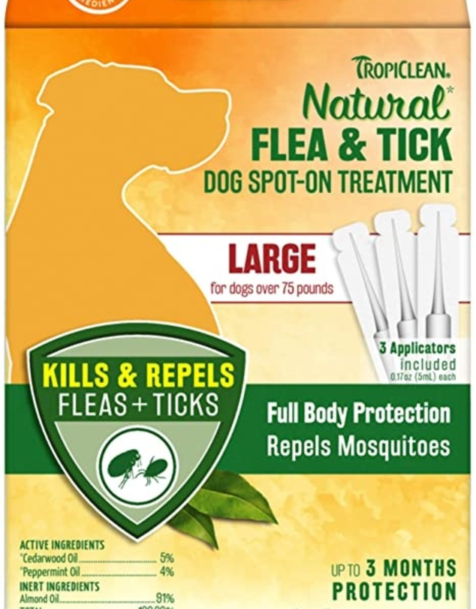 TropiClean Natural Flea & Tick Spot On Treatment for Dogs 0.68 fl oz. - 4 Count - Large