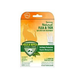 TropiClean Natural Flea & Tick Spot On Treatment for Cats 3 ct