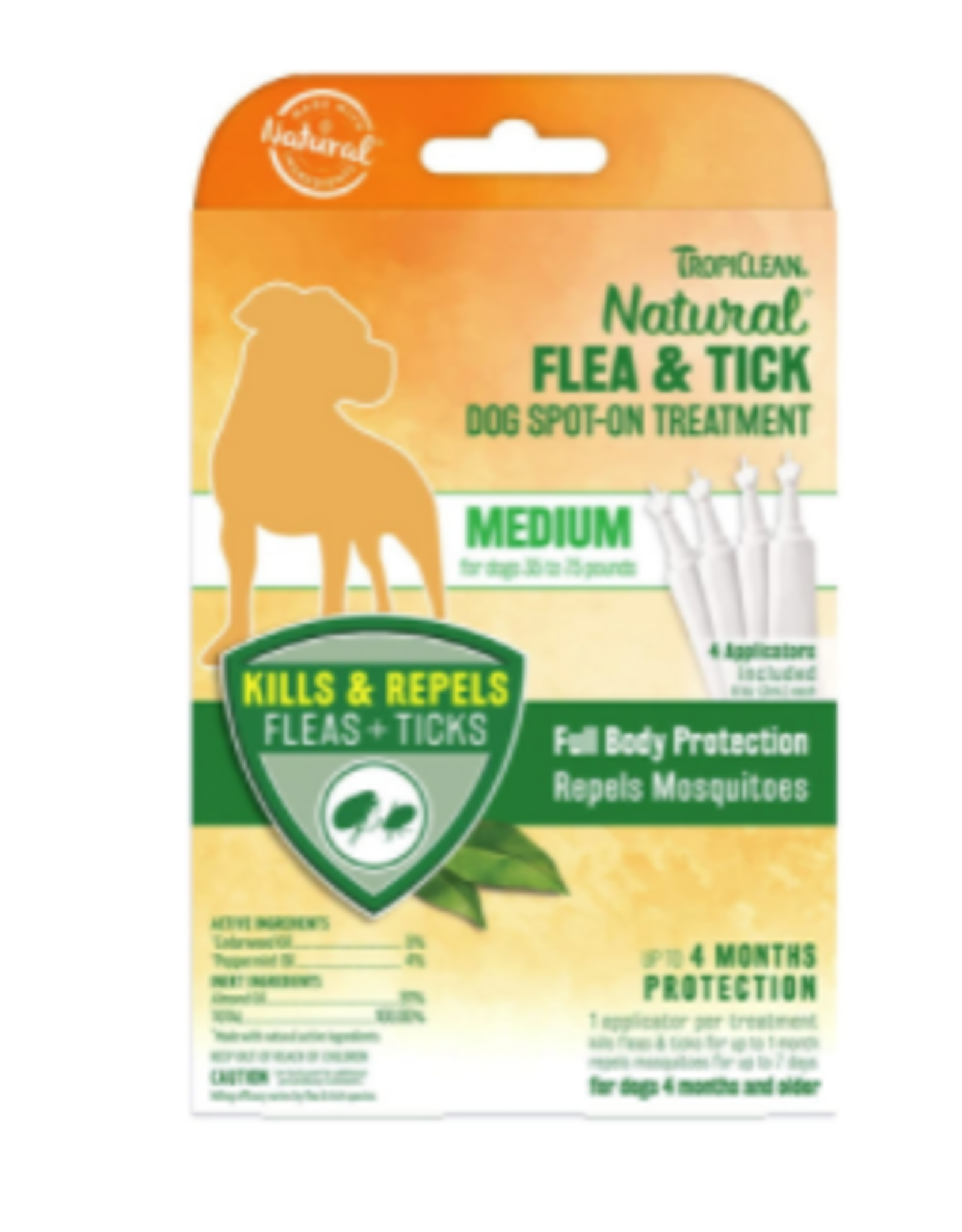 TropiClean Natural Flea & Tick Spot On Treatment for Dogs 0.4 fl oz - 4 Count - Medium