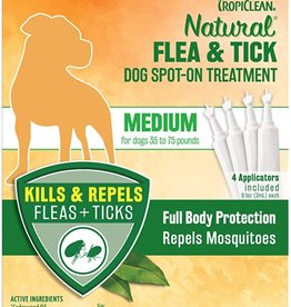 TropiClean Natural Flea & Tick Spot On Treatment for Dogs 0.4 fl oz, 4 ct Med