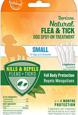 TropiClean Natural Flea & Tick Spot On Treatment for Dogs 0.2 fl oz, - 4 Count - Small