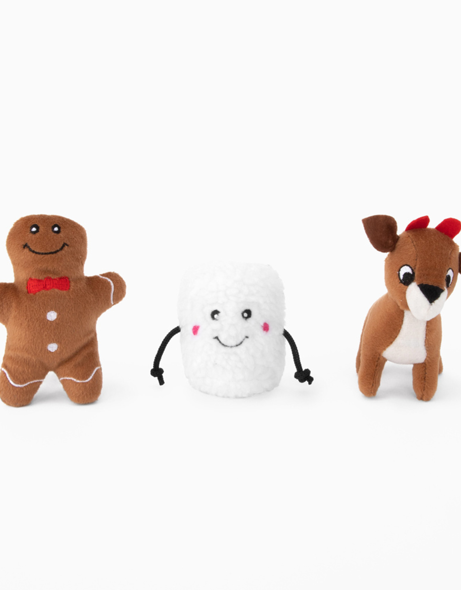 ZippyPaws Holiday Miniz - Santa's Friends 3-Pack