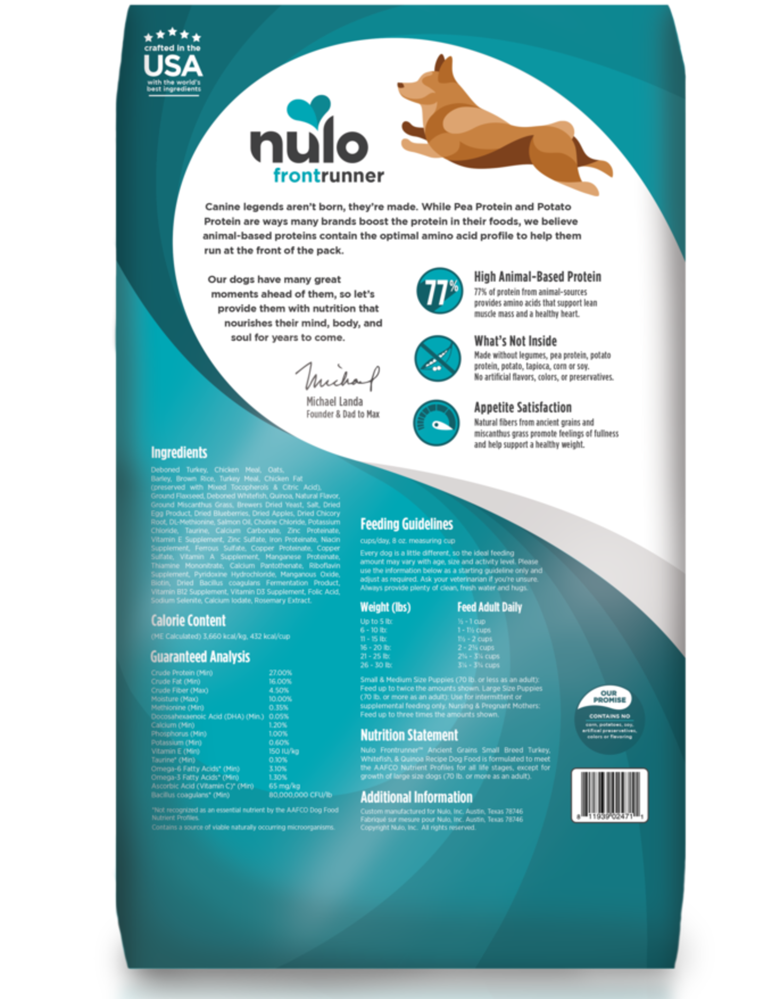 Nulo Frontrunner Small Breed Turkey, Whitefish & Quinoa 3lb