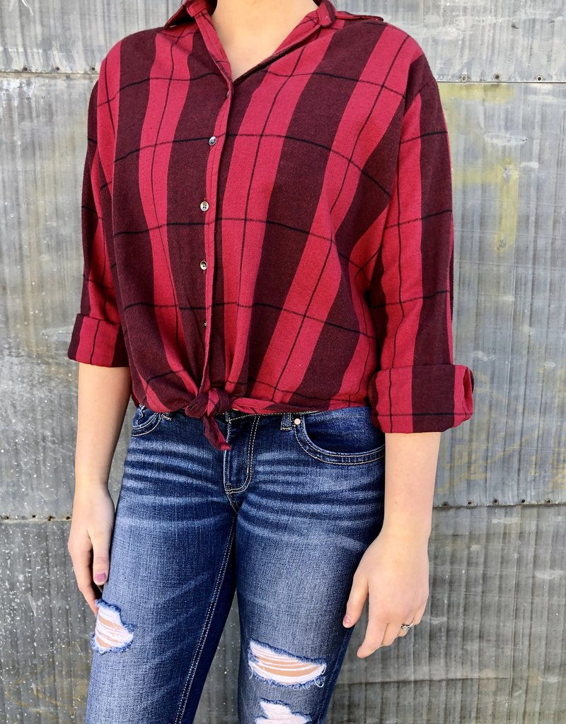 Cozy Down Plaid Top