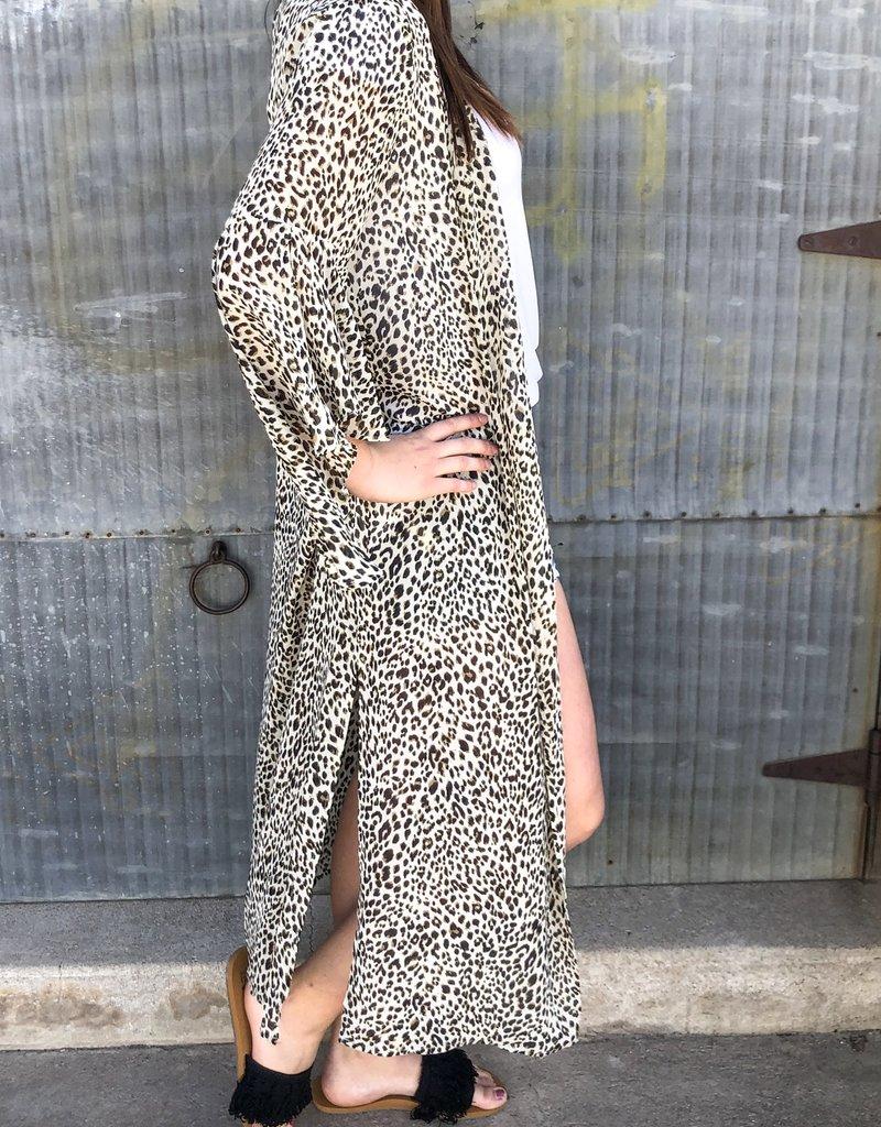 Sheer Leopard Print Kimono