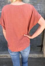 Short Sleeve Button Up V-Neck Top