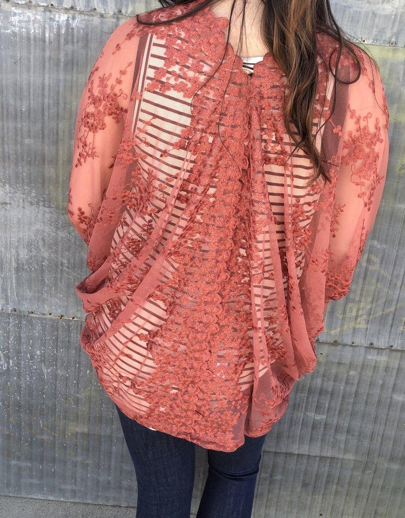 Sheer Floral Lace Kimono
