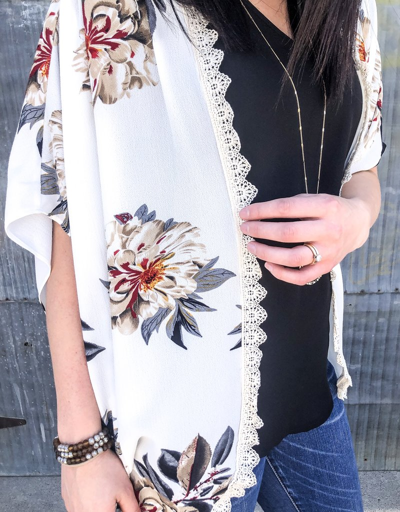 Floral Lace Trim Kimono