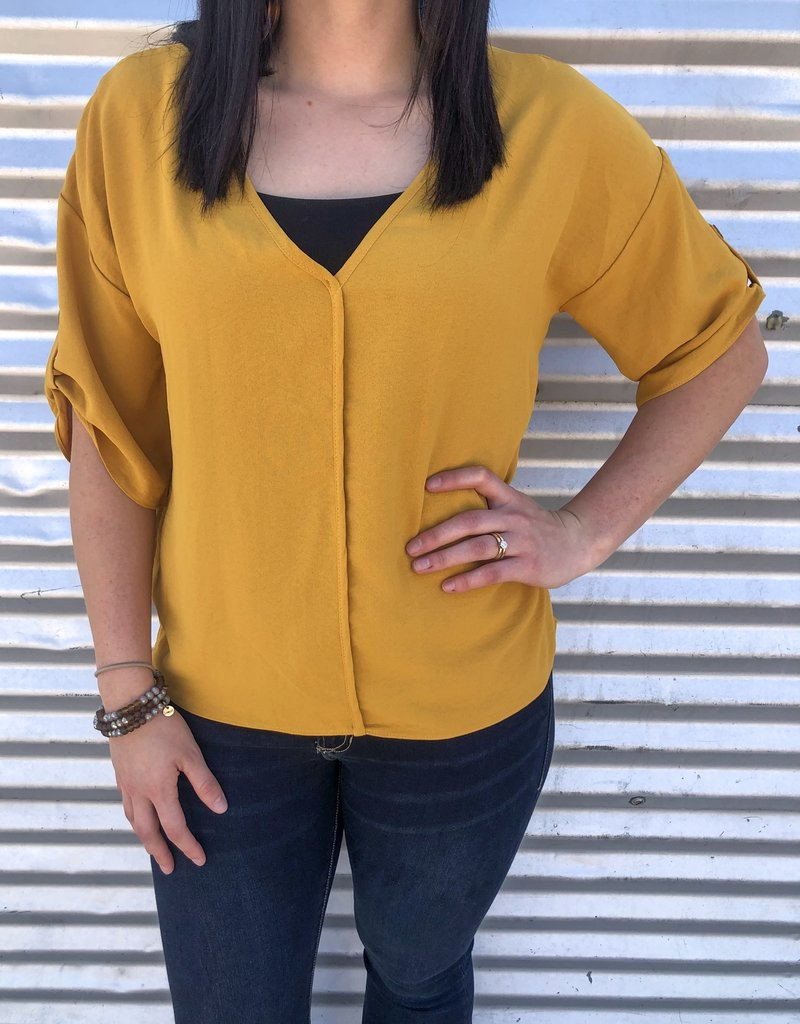V-Neck Solid Woven Top