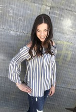 Vertical Striped Off Shoulder Top