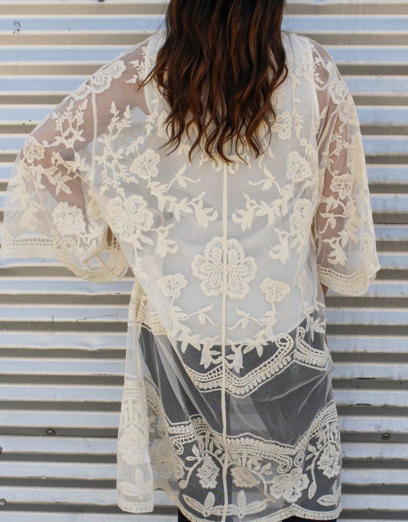 509 Broadway Crochet Lace Midi Duster