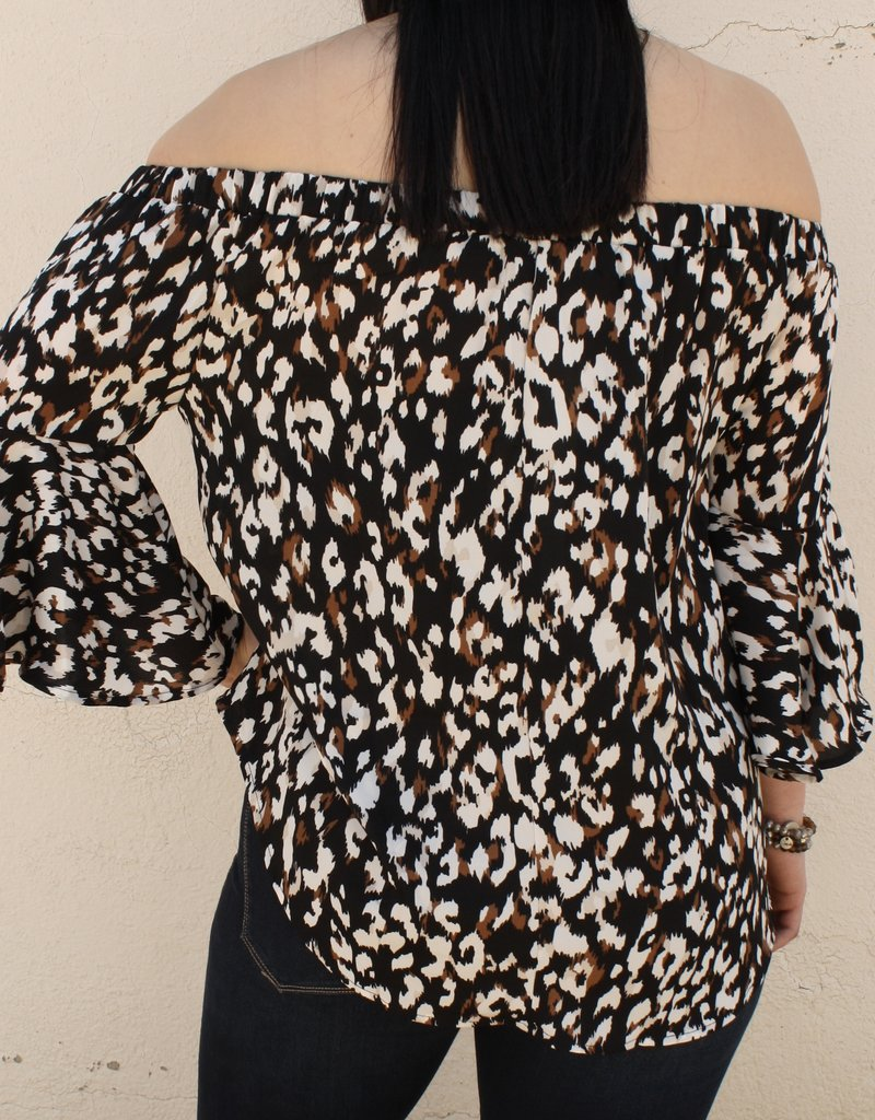 Bell Sleeve Off the Shoulder Animal Top